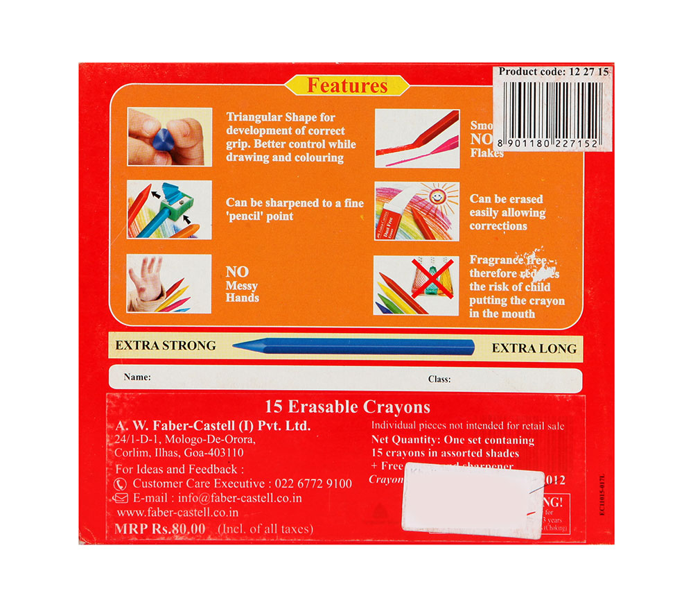Buy Faber Castell Grip Erasable Crayons 110mm 15 Colors Online In Colour To Life Castel
