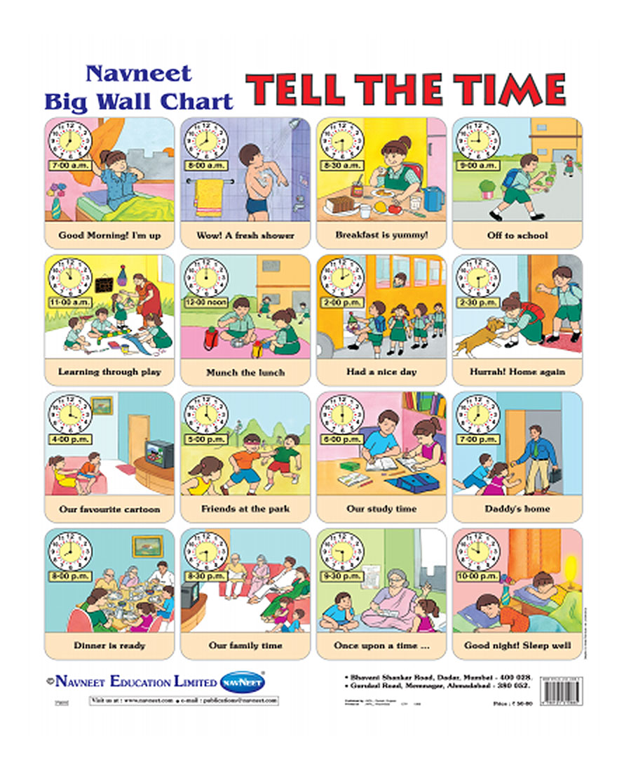 Buy Navneet Tell The Time Big Wall Chart Online In India
