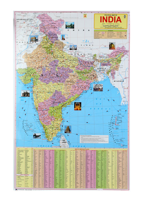 Political Map of India Chart