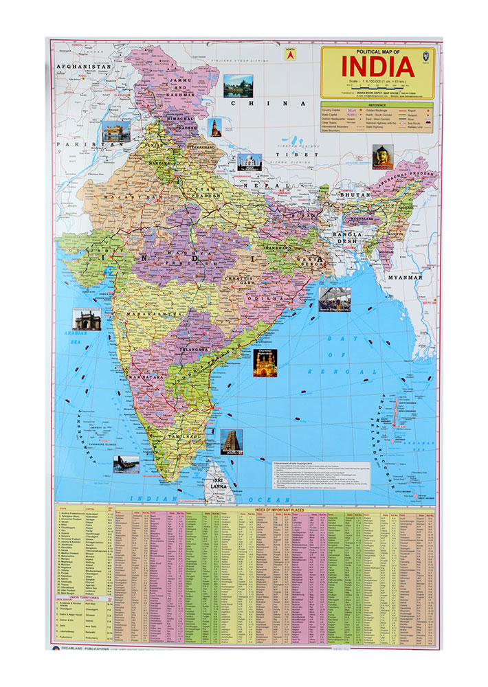 Buy dreamland political map of india chart online in india kheliya political map of india chart gumiabroncs Images