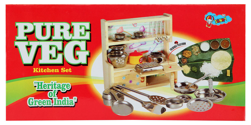 Buy sunny pure veg kitchen set online in india kheliya toys for Model kitchen set 2016