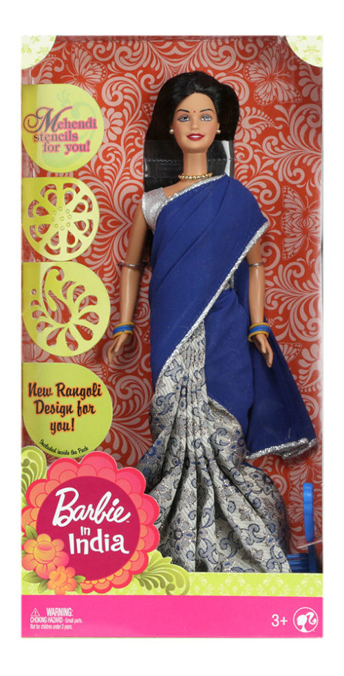 Barbie In India (New) - Navy Blue Saree