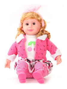 Doll With Blinking Eyes That Sings Five Poems - Pink With Ribbon