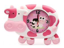 Cattle Wall Clock Big - White+Pink