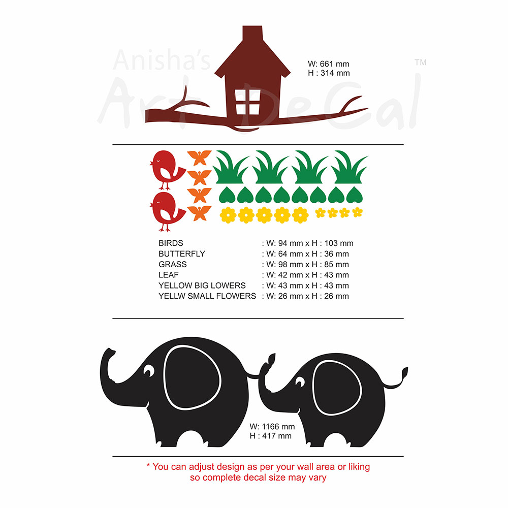 Buy Cute Elephant Theme Wall Decal Online In India