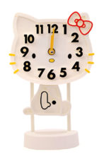 Kitty Table Clock - White
