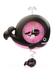 Whale Wall Clock Big - Black