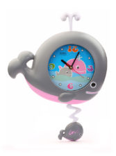 Whale Wall Clock Big - Grey