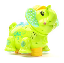 Battery Operated Elephant Projector Light And Sound - Green