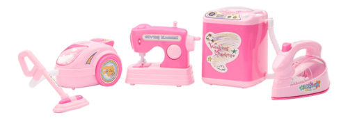 Battery Operated Household Set (Sewing Machine + Washing Machine + Vacuum Cleaner + Iron)