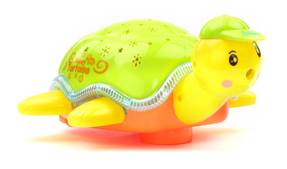 Battery Operated Turtle Projector Light And Sound - Green