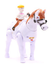 Walking horse with rider - white