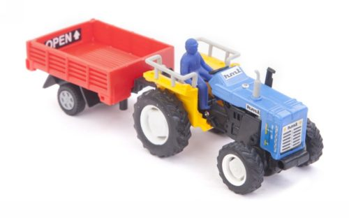 Centy Tractor With Trolly Sky Blue-Red Pullback