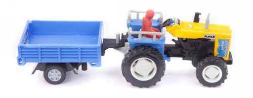 Centy Tractor With Trolly Yellow-Sky Blue Pullback