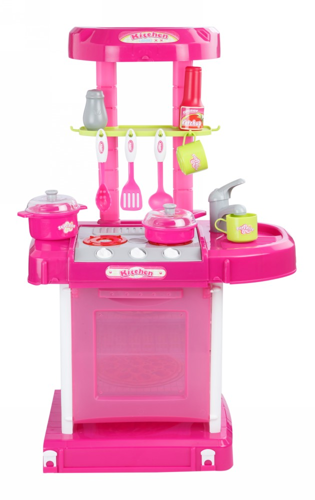 Buy plastic kitchen set with lights music online in for Plastic kitchen set