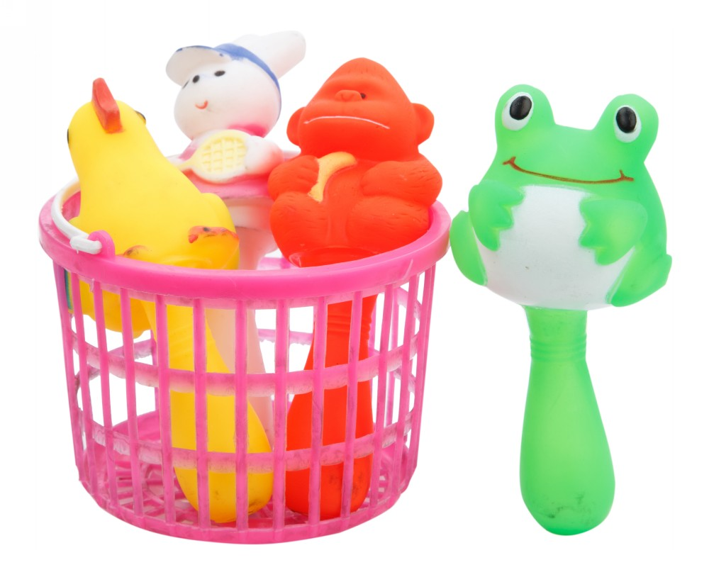 Buy Colourful Squeeze Toys 4 Pcs Set With Basket Online In India