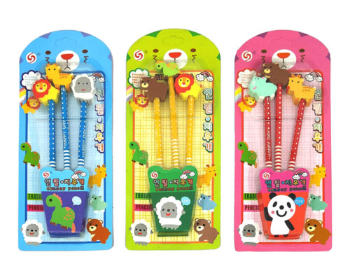 Pencils with Assorted Animal Erasers (Pack of 3)