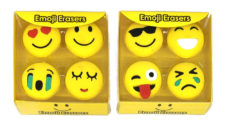 Assorted Smiley Emoji Erasers (Pack of 4)