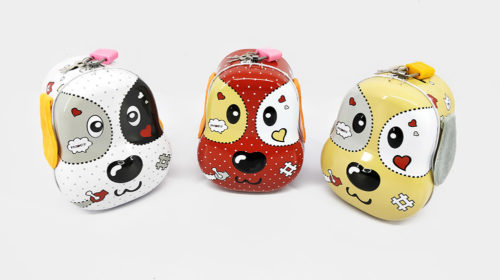 Dog Face Money Bank with Lock & Key (Assorted)