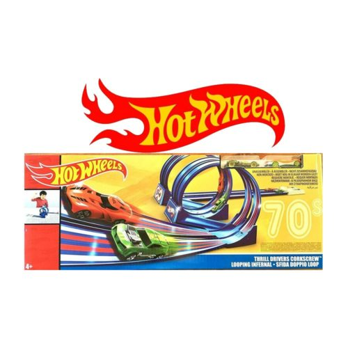 Hot Wheels 70s Thrill Drivers Corkscrew Track Set 4 Speed Booster