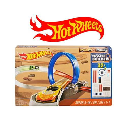 Hot Wheels Super 6-in-1 Race Set Exclusive Track Builder System (32+ Pcs)