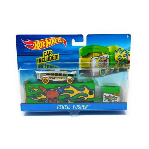 Hot Wheels City Pencil Pusher Toy School Bus Set